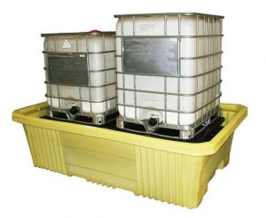 Spill Containment for two intermediate bulk containers.