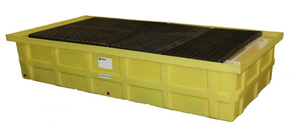 Low-profile, cost-effective double IBC Tote Spill Containment Dispensing Station and Drum Spill Containment System